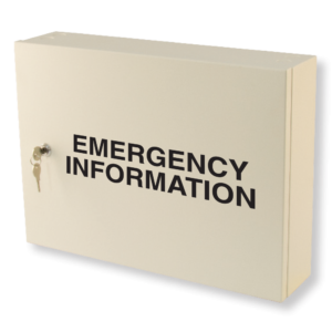 emergency information cabinet milk white