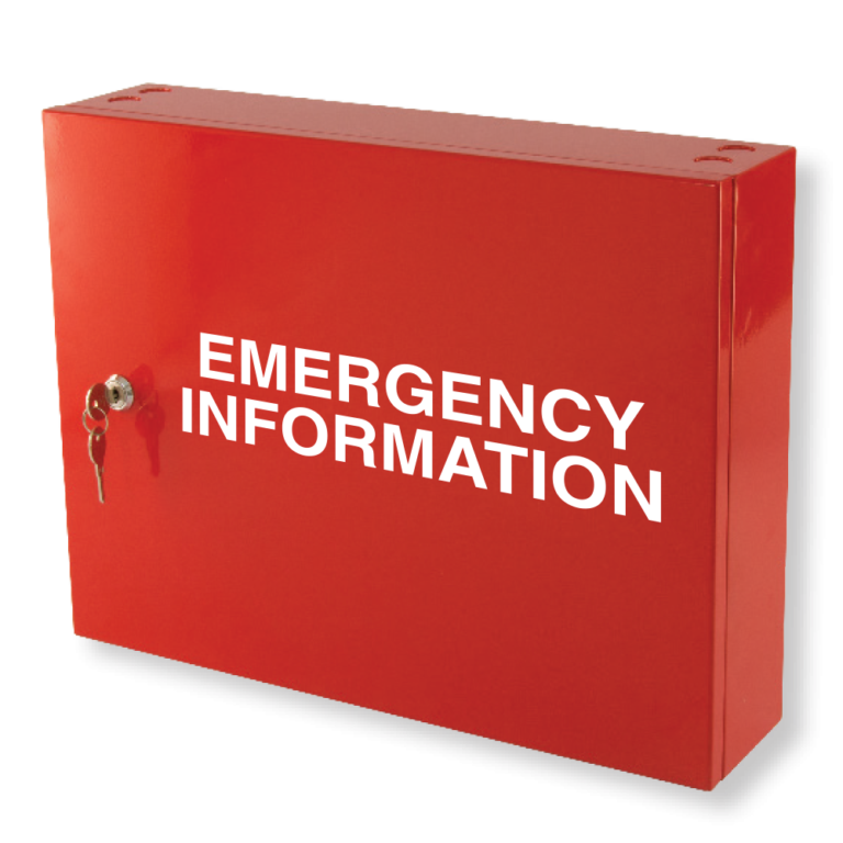 emergency information cabinet red