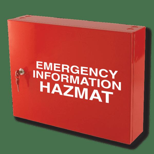 emergency information hazmat cabinet red