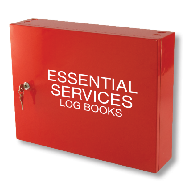 essential services log book cabinet red