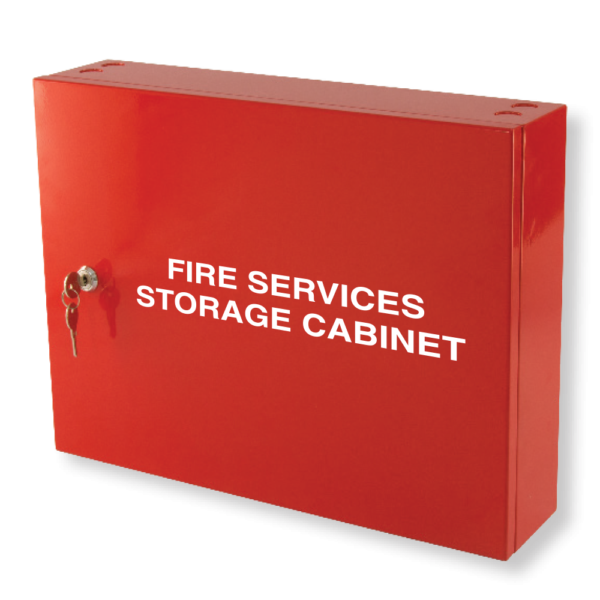 fire services storage cabinet red