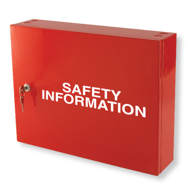 safety information cabinet red