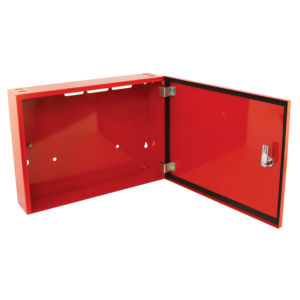 small metal storage cabinet red 1