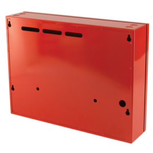 small metal storage cabinet red