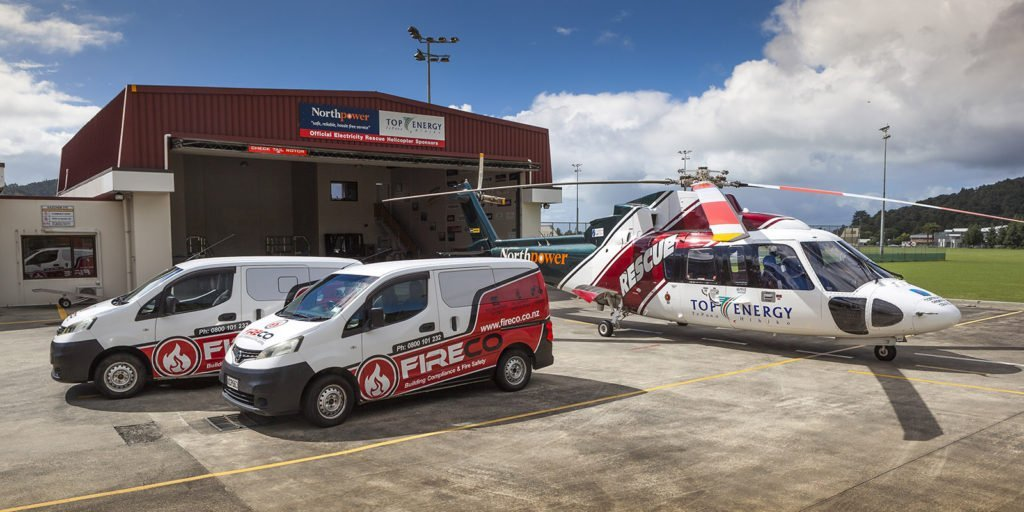 Northland Rescue Helicopter with supporter Fireco